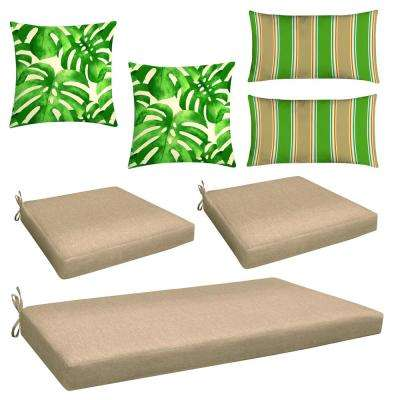 Neutral 7-Piece Outdoor Mix and Match Wicker Chair Cushion Set
