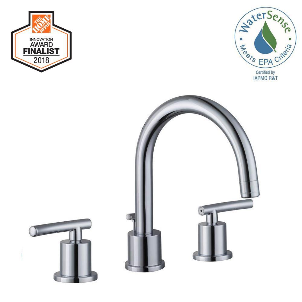 Glacier Bay Dorset 8 in. Widespread 2-Handle High-Arc Bathroom Faucet in Chrome