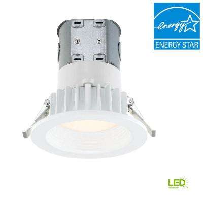 Easy Up with Direct Wire J-Box 4 in. White Integrated LED Recessed Kit, 3000K