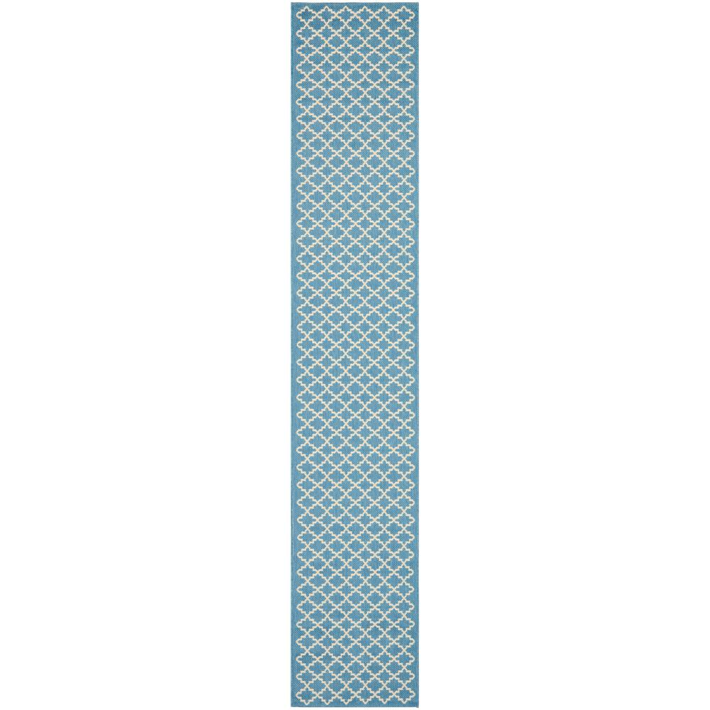 Courtyard Blue/Beige 2 ft. 3 in. x 12 ft. Indoor/Outdoor Runner