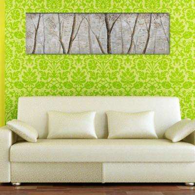 19.69 in. x 70.87 in. Jungle Hand Painted Aluminum Wood Wall Art Decor