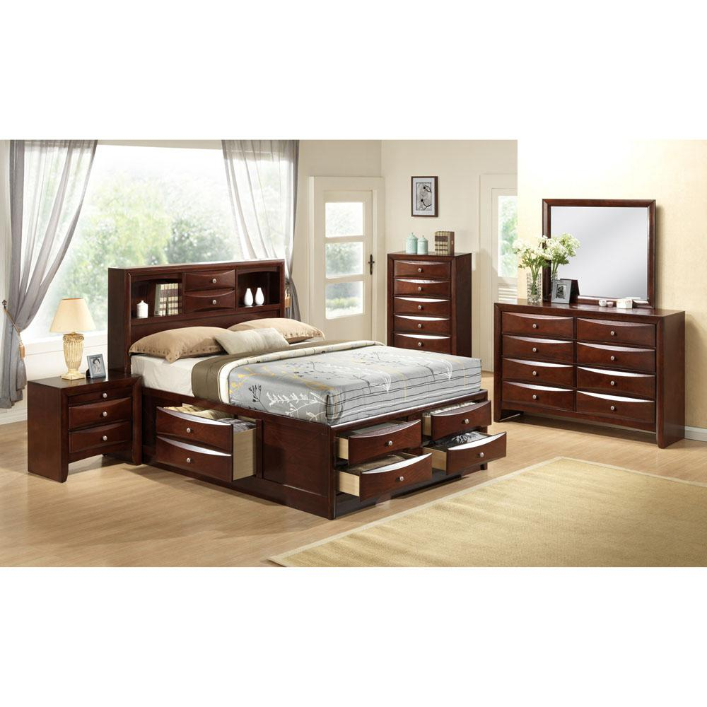 Cambridge Orleans Storage 5 Piece Cherry Bedroom Suite: Queen Bed, Dresser,  Mirror