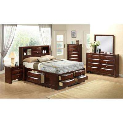 Orleans Storage 5-Piece Cherry Bedroom Suite: Queen Bed, Dresser, Mirror, Chest and Nightstand