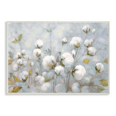 "10 in. x 15 in. ""Cotton Flower Field Neutral Blue Green Landscape Painting"" by Julia Purinton Wood Wall Art"