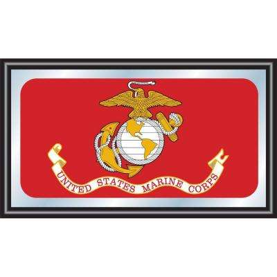 United States Marine Corps 15 in. x 26 in. Black Wood Framed Mirror