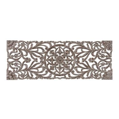 Malito 18 in. x 48 in. Grey Medallion by Madeleine Home Wooden Wall Art/ Sculptures
