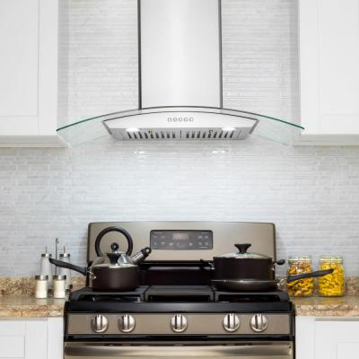 30 in. Convertible Wall Mount Range Hood with Tempered Glass, Push Panel and Carbon Filters in Stainless Steel