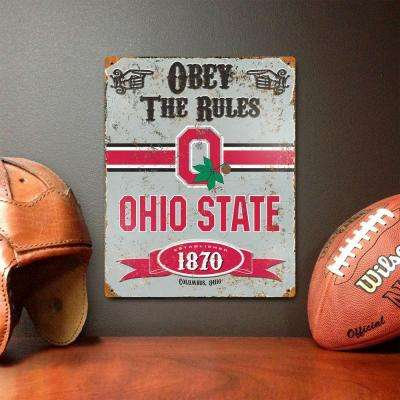 14.5 in. H x 11.5 in. W Heavy Duty Steel Ohio State Buckeyes Embossed Metal Sign Wall Art