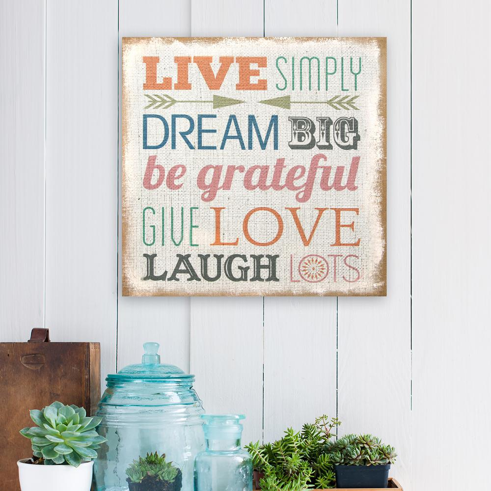 Love Simply Typography Burlap Decorative Sign