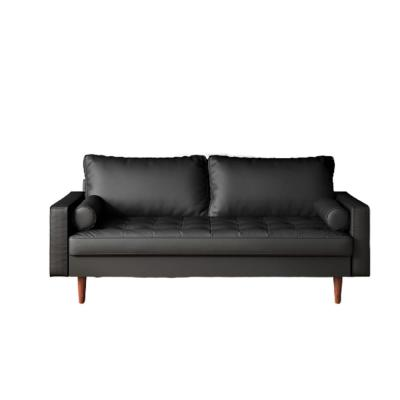 Lincoln 69.7 in. Black Faux Leather 3-Seater Lawson Sofa with Removable Cushions