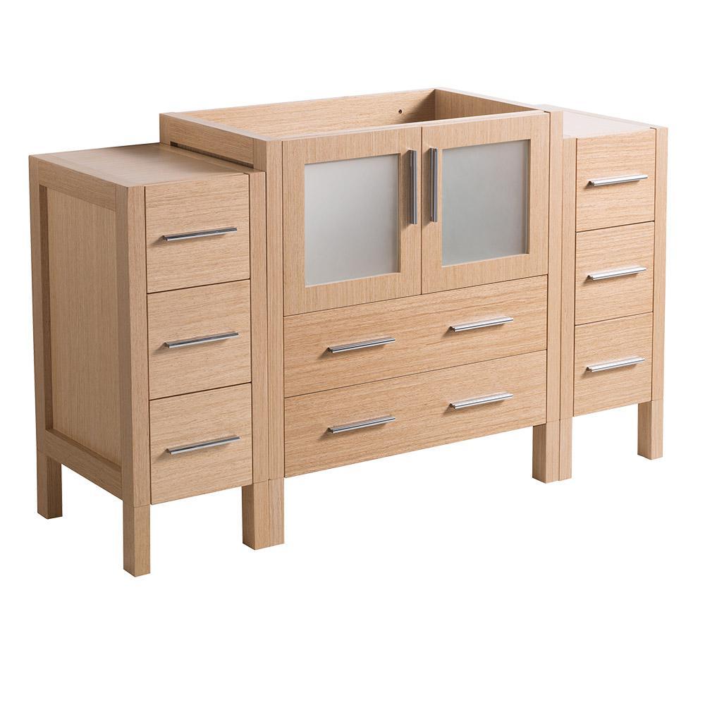 Fresca 54 In Torino Modern Bathroom Vanity Cabinet In Light Oak Fcb62 123012lo The Home Depot