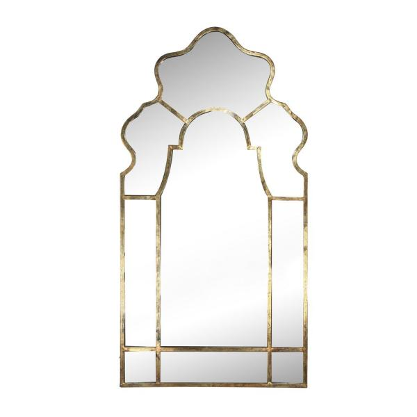 Large Novelty Gold Modern Mirror (54.5 in. H x 28 in. W)