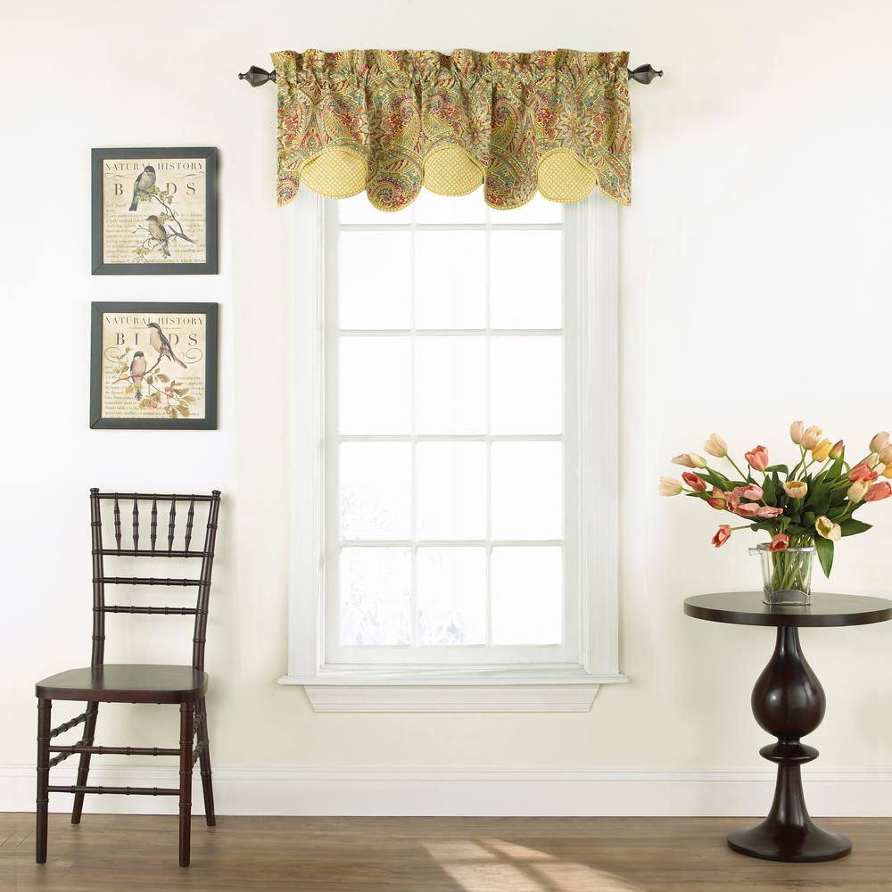 Valances Window Treatments Swept Away Window Valance in Berry - 60 in. W x 18 in. L