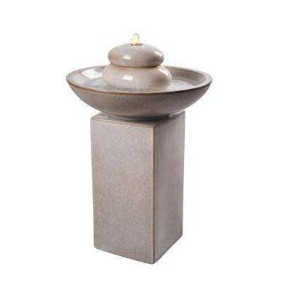 Stonewell 28 in. Ivory Floor Fountain