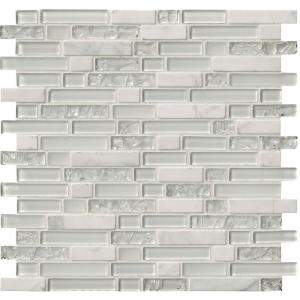 Delano Blanco 12 in. x 12 in. x 6 mm Glass Stone Mesh-Mounted Mosaic Tile