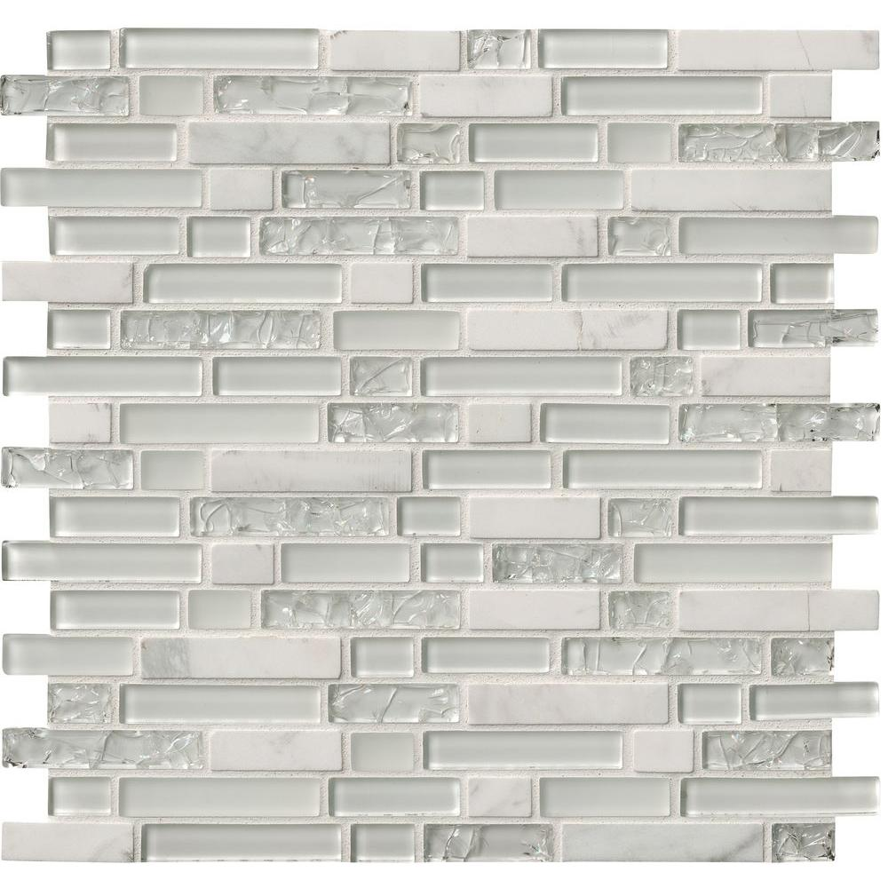 Msi Delano Blanco 12 In X 6mm Gl Stone Mesh Mounted Mosaic Tile Sgls Delbla6mm The Home Depot