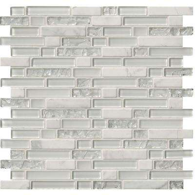 Delano Blanco 12 in. x 12 in. x 6 mm Glass Stone Mesh-Mounted Mosaic Tile (1 sq. ft.)