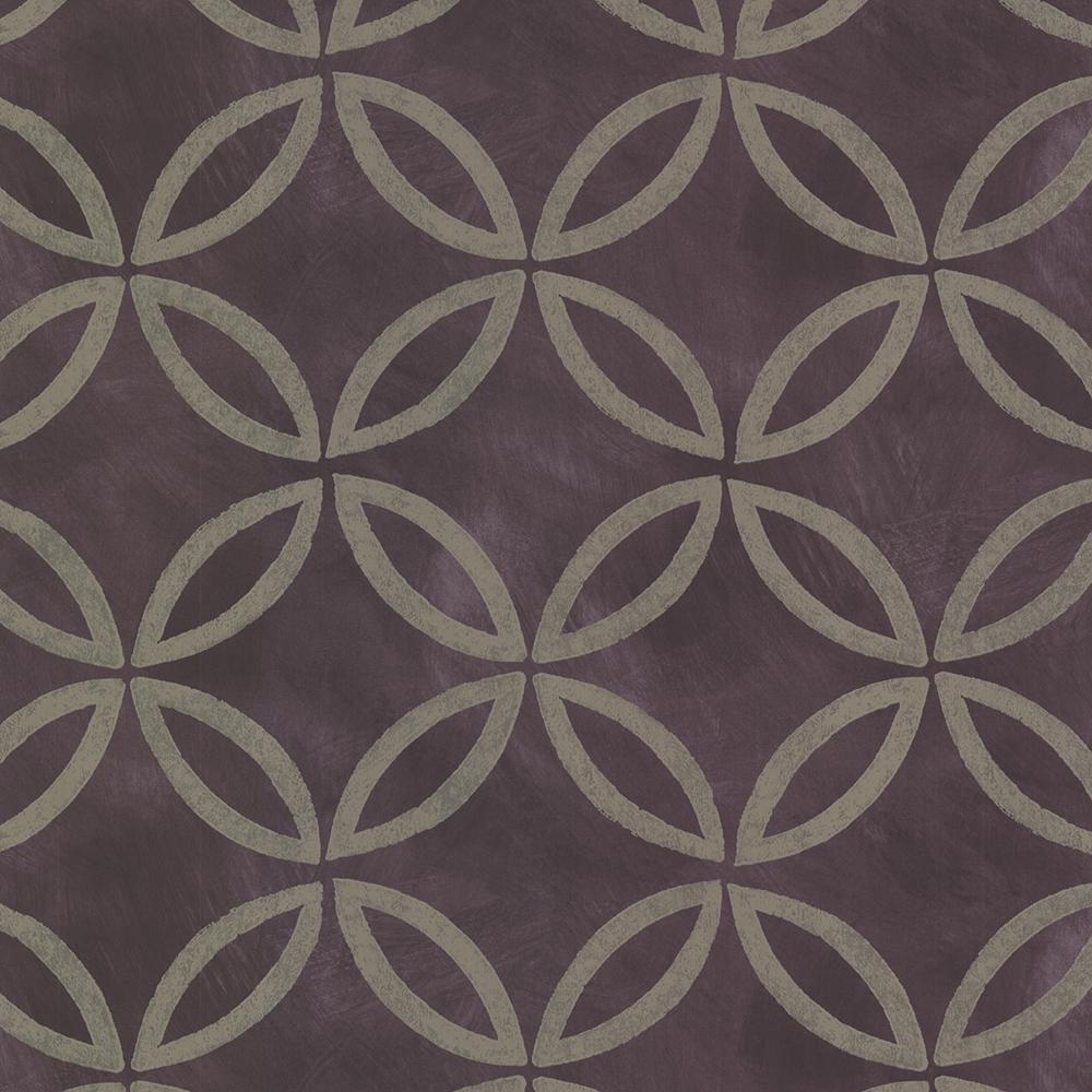 Brewster Purple Cloverleaf Geometric Wallpaper Sample