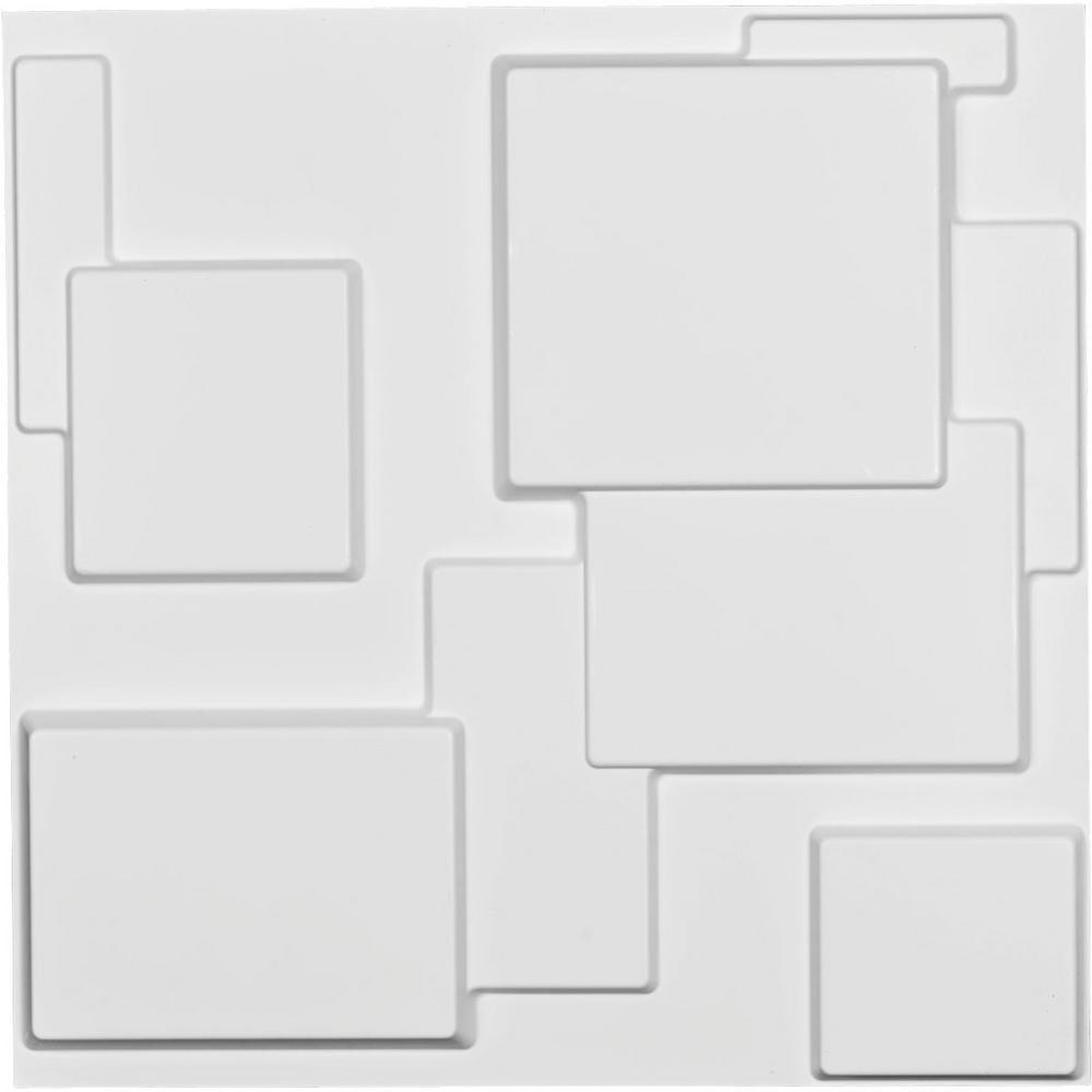 Ekena Millwork 1 in. x 19-5/8 in. x 19-5/8 in. White PVC Gomez EnduraWall Decorative 3D Wall Panel
