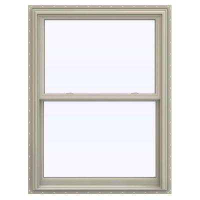 35.5 in. x 53.5 in. V-2500 Series Desert Sand Vinyl Double Hung Window with BetterVue Mesh Screen