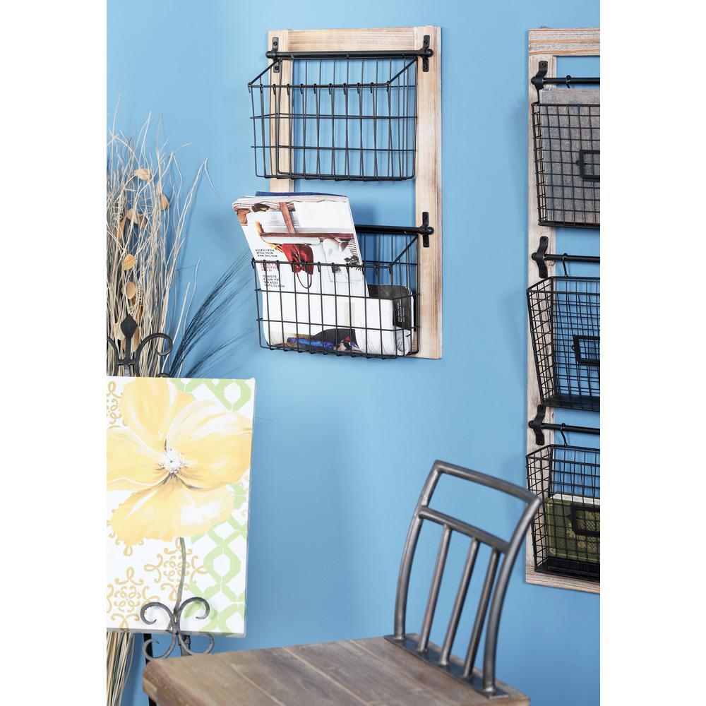 Black Iron 2-Tier Wire Basket Wall Rack