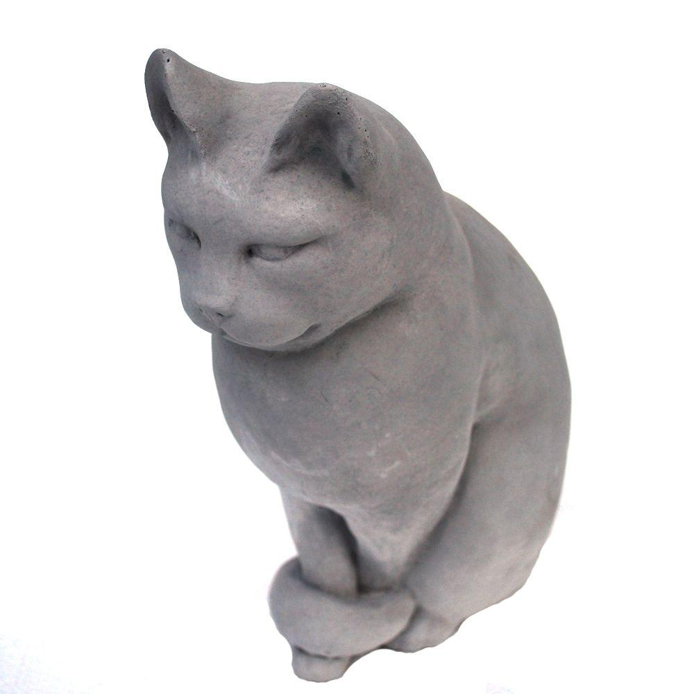 Cast Stone Classic Sitting Cat Garden Statue Antique Gray