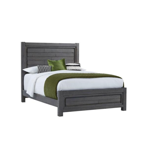 Theory Distressed Dark Gray Queen Complete Panel Bed