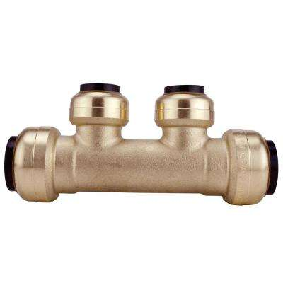 3/4 in. x 3/4 in. Brass Push-To-Connect Inlets with 2-Port Open Manifold 1/2 in. Push-To-Connect Outlets