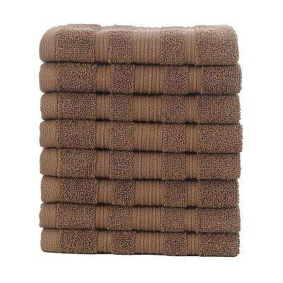 Pure Turkish Cotton Collection 13 in. W x 13 in. H Luxury Washcloth in Brown (Set of 8)