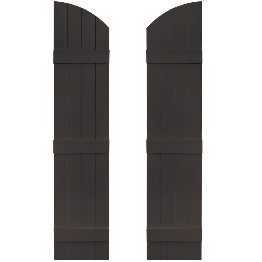Builders Edge 14 in. x 61 in. Board-N-Batten Shutters Pair, 4 Boards Joined with Arch Top #010 Musket Brown