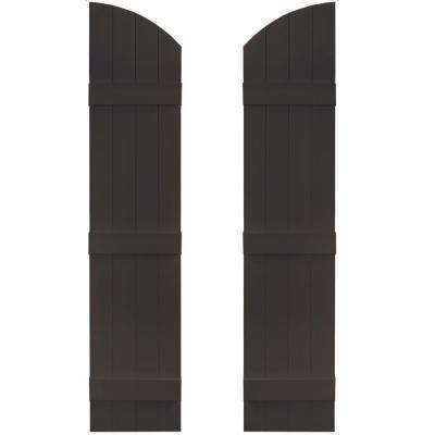 14 in. x 61 in. Board-N-Batten Shutters Pair, 4 Boards Joined with Arch Top #010 Musket Brown