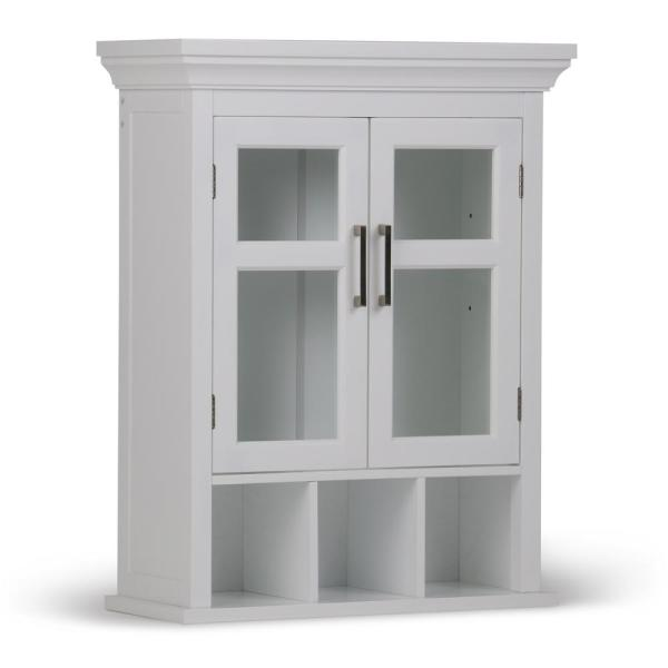 Simpli Home Avington 23 6 In W X 30 In H X 10 In D Two Door Wall Bath Cabinet With Cubbies In White Axcbc 006 Wh The Home Depot