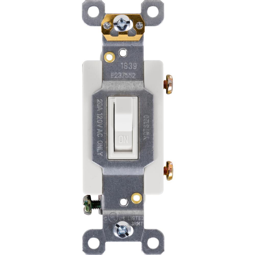Heavy Duty Single-Pole Grounding Toggle Switch, White