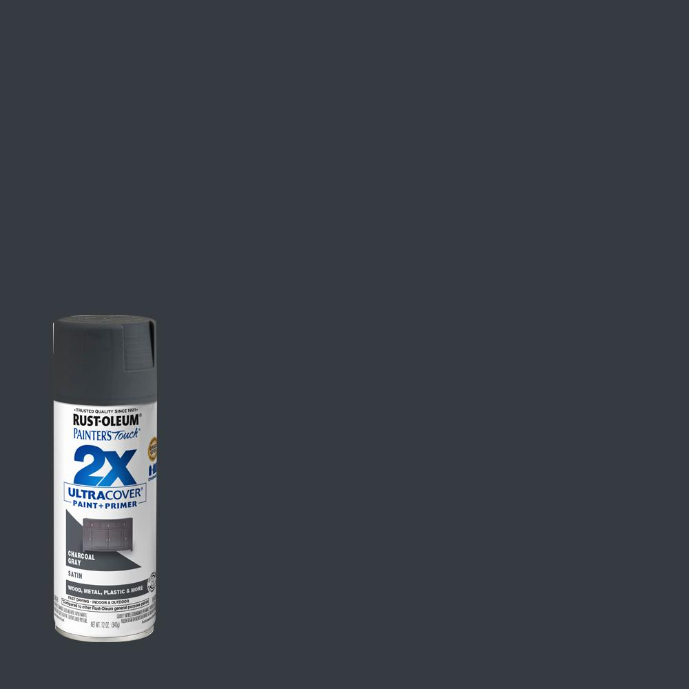 Rust-Oleum Painter's Touch 2X 12 oz. Satin Charcoal Gray General Purpose Spray Paint