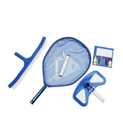Deluxe Swimming Pool Kit - Vacuum Leaf Skimmer Curved Brush Thermometer and Test Kit (5-Piece)