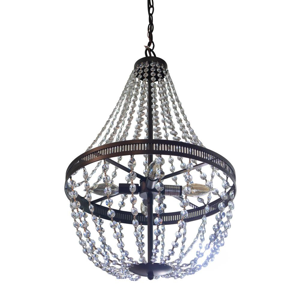 Harlow Orb 4-Light Black Chandelier