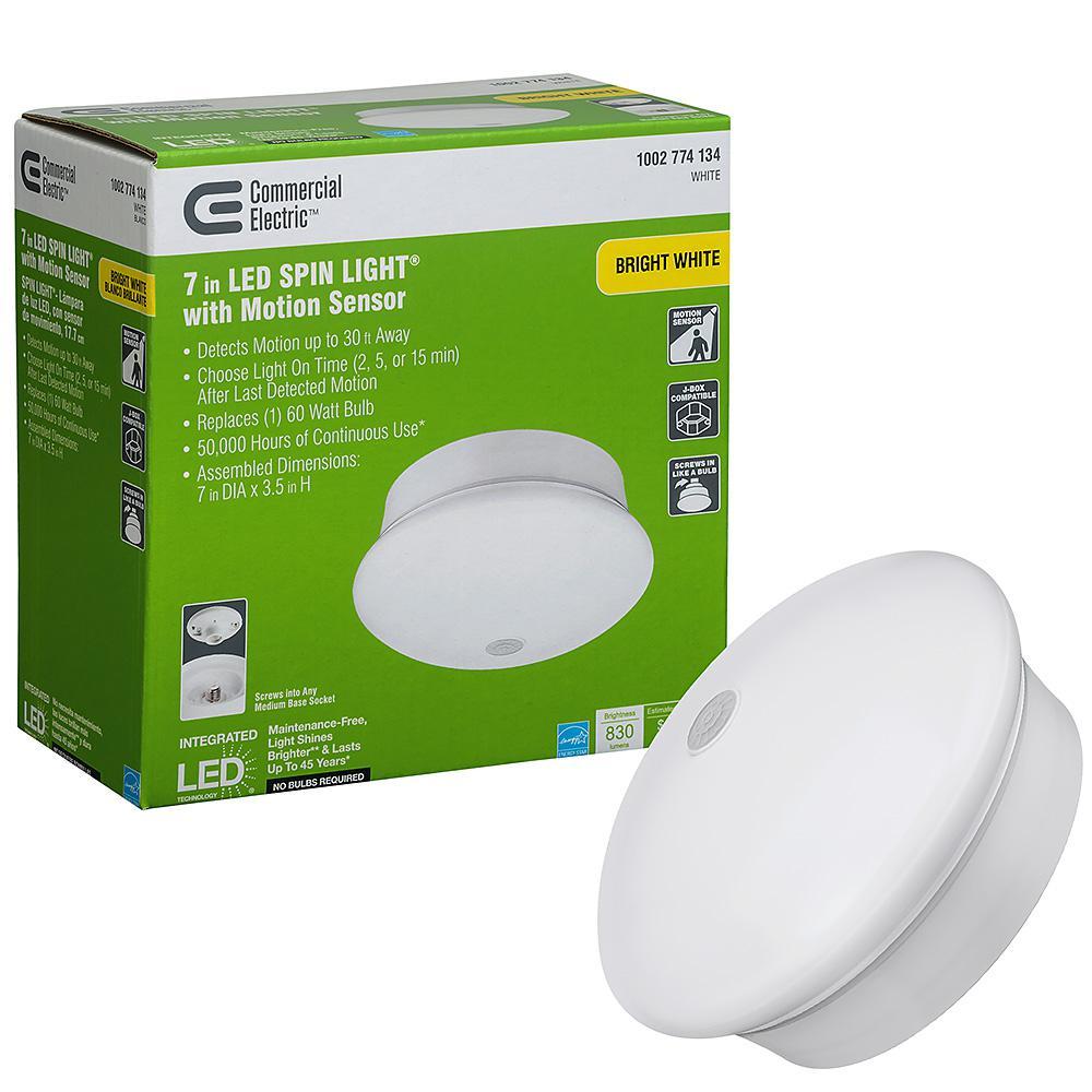Spin Light 7 in. White LED Flush Mount Ceiling Light Adjustable PIR Motion Sensor 830 Lumens 4000K Bright White Dimmable