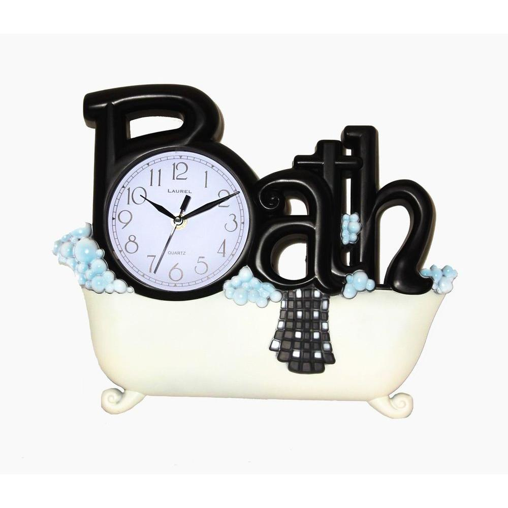 Nextime 11.38 in. x 14 in. Bath Rectangular Plastic Wall Clock-DISCONTINUED