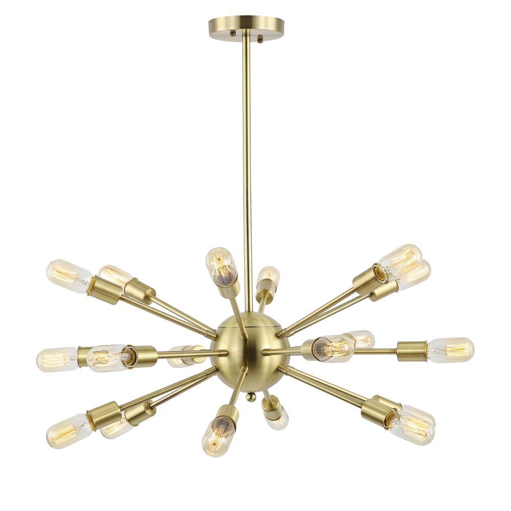 Sputnik Style Brass Chandelier