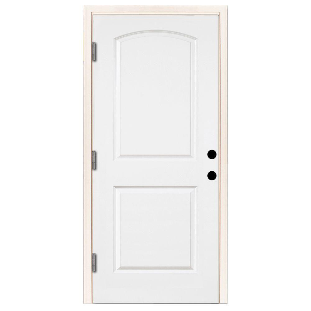 Steves & Sons 32 in. x 80 in. Premium 2-Panel Roundtop Right-Hand Outswing Primed White Steel Prehung Front Door with 4-9/16 in. frame
