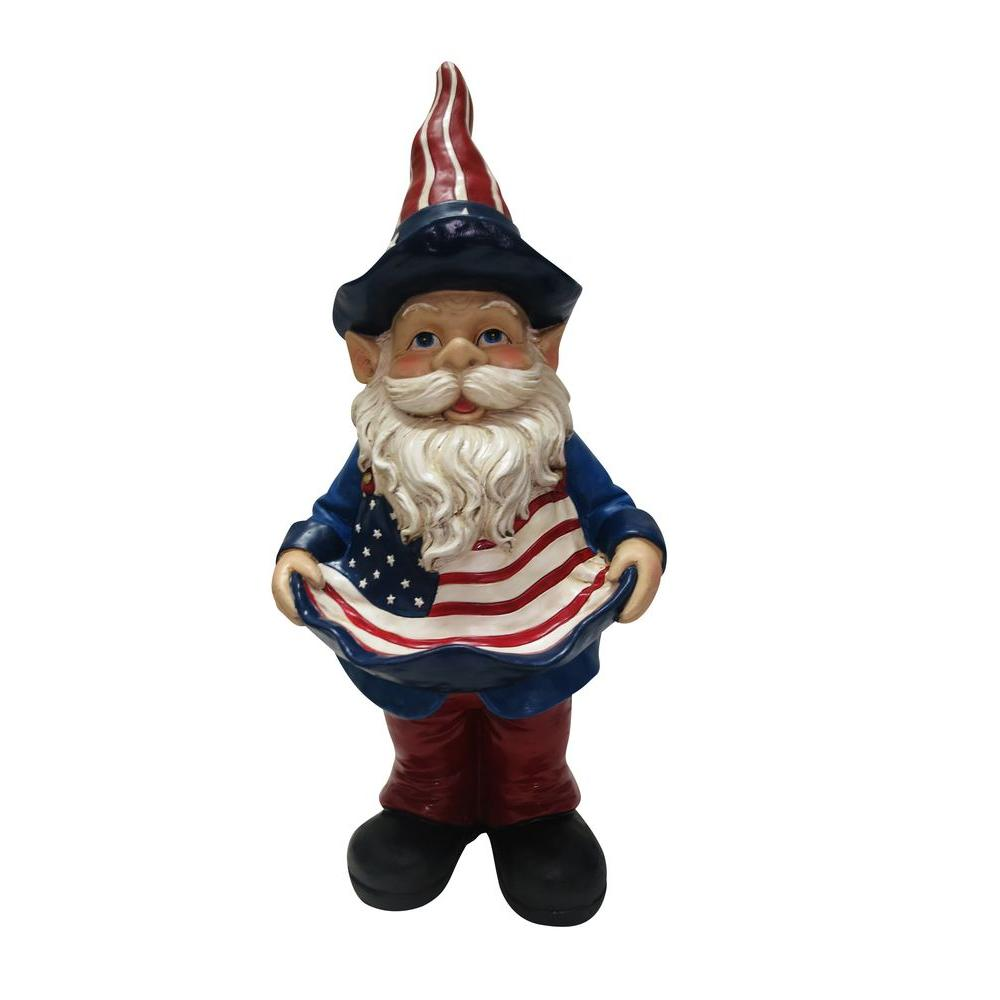 Alpine 22 in. Americana Gnome with Bird Feeder