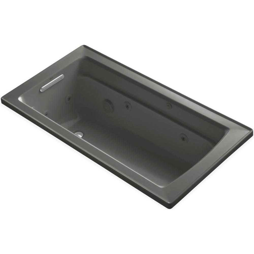 KOHLER Archer 5 ft. Acrylic Rectangular Drop-in Whirlpool Bathtub in Thunder Grey