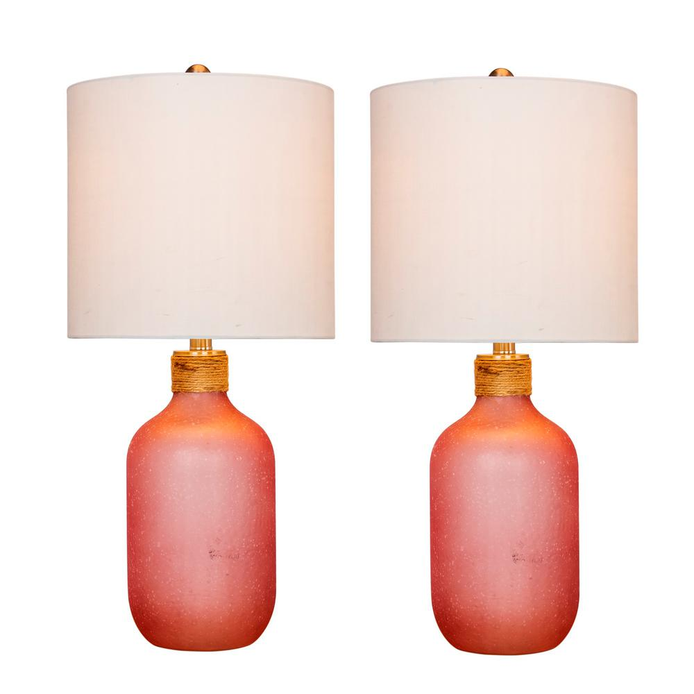 Fangio Lighting 26 In Frosted Pink Island Jug Glass Table Lamps W