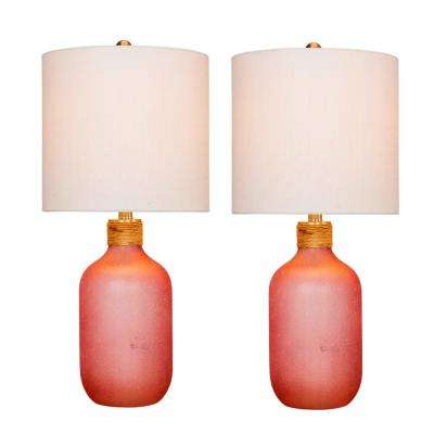 26 in. Frosted Pink Island Jug Glass Table Lamps