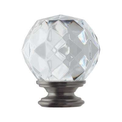 Mix and Match 1 in. Faceted Crystal Sphere Curtain Rod Finial in Gunmetal (2-Pack)