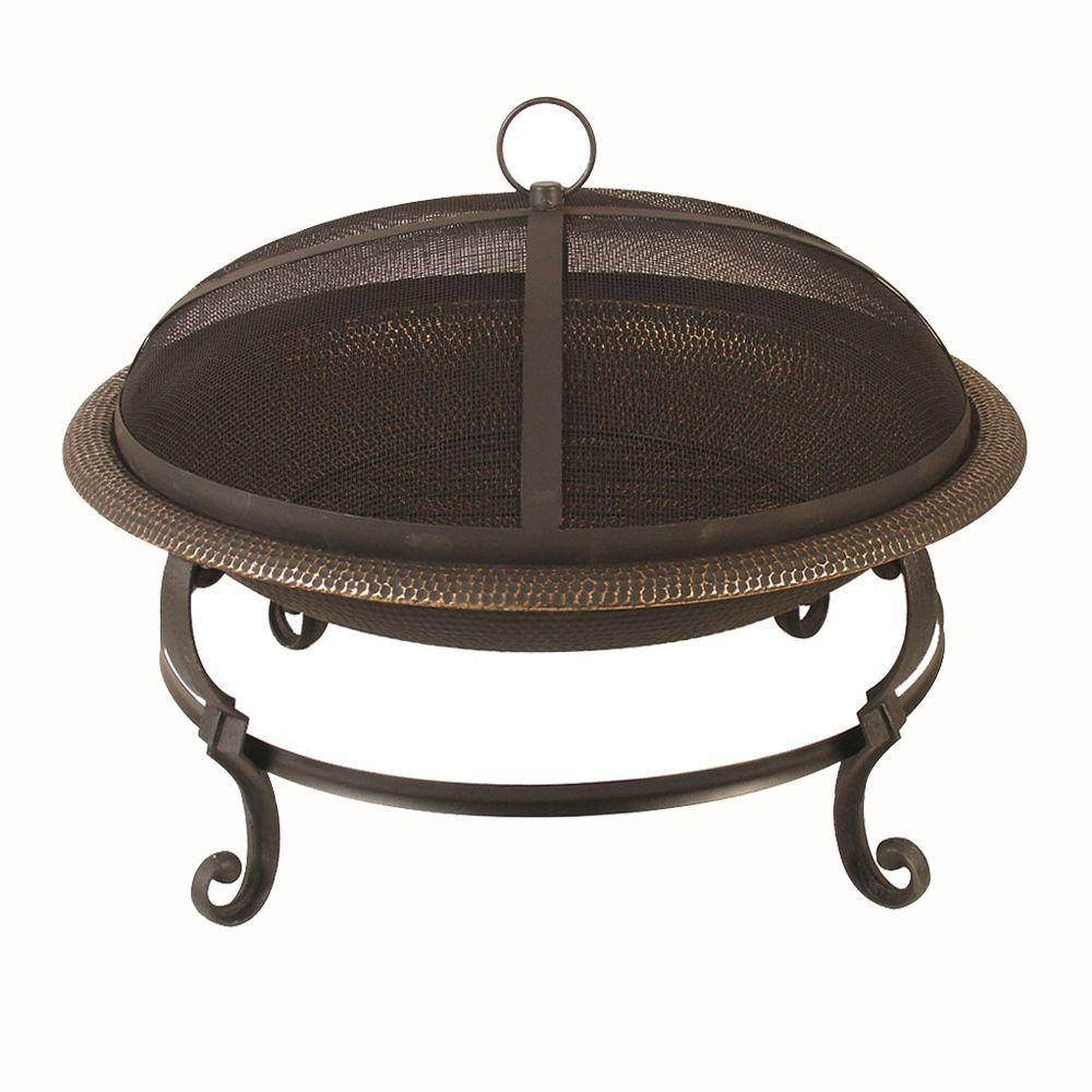 29 in. Casting Leg Steel Fire Pit in Black with Copper