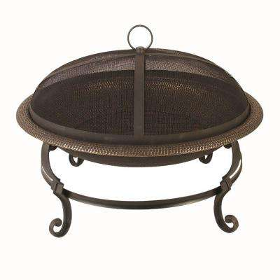 29 in. Casting Leg Steel Fire Pit in Black with Copper Accent