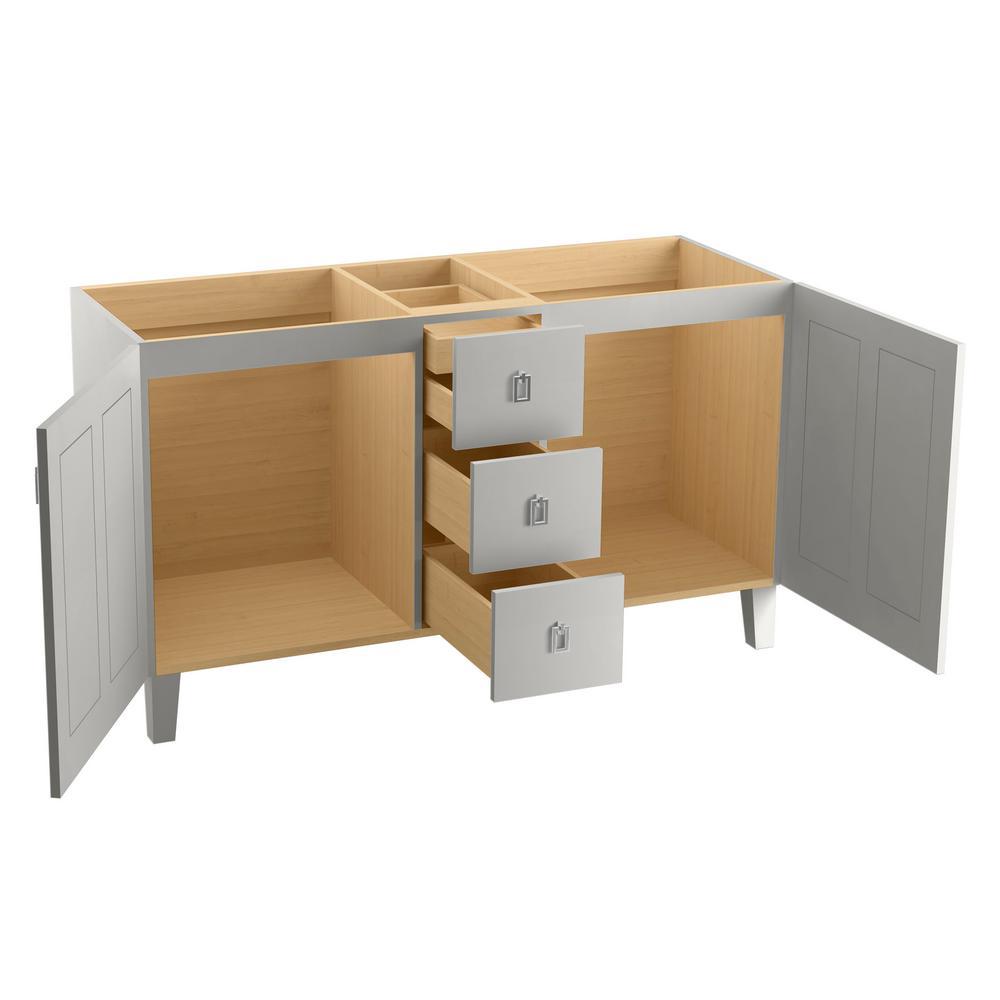 Poplin 60 in. W Vanity Cabinet in Mohair Grey