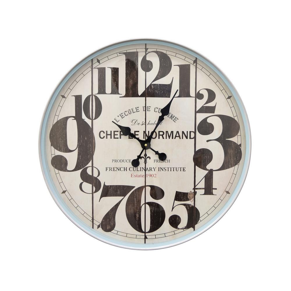 23 in. x 3 in. Wall Clock in Blue