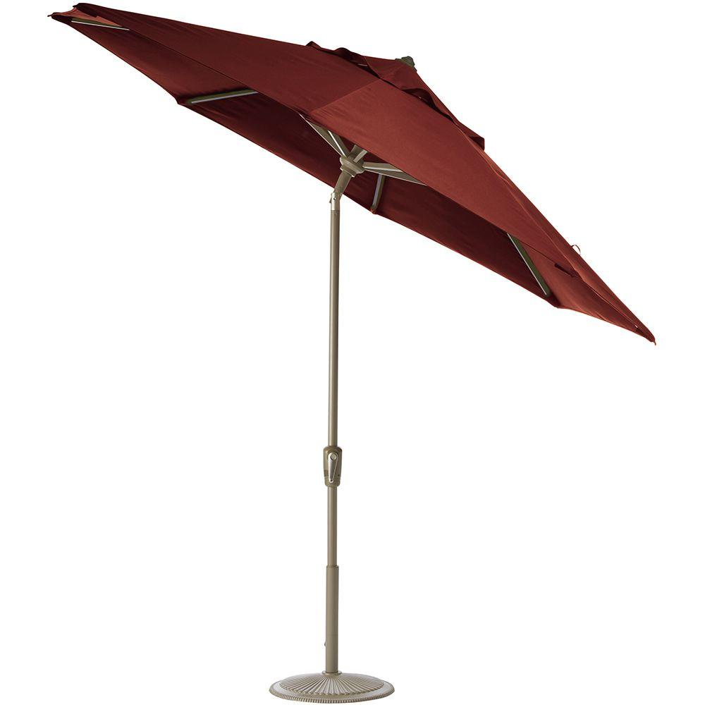 Home Decorators Collection 11 ft. Auto-Tilt Patio Umbrella in Henna Sunbrella with Champagne Frame